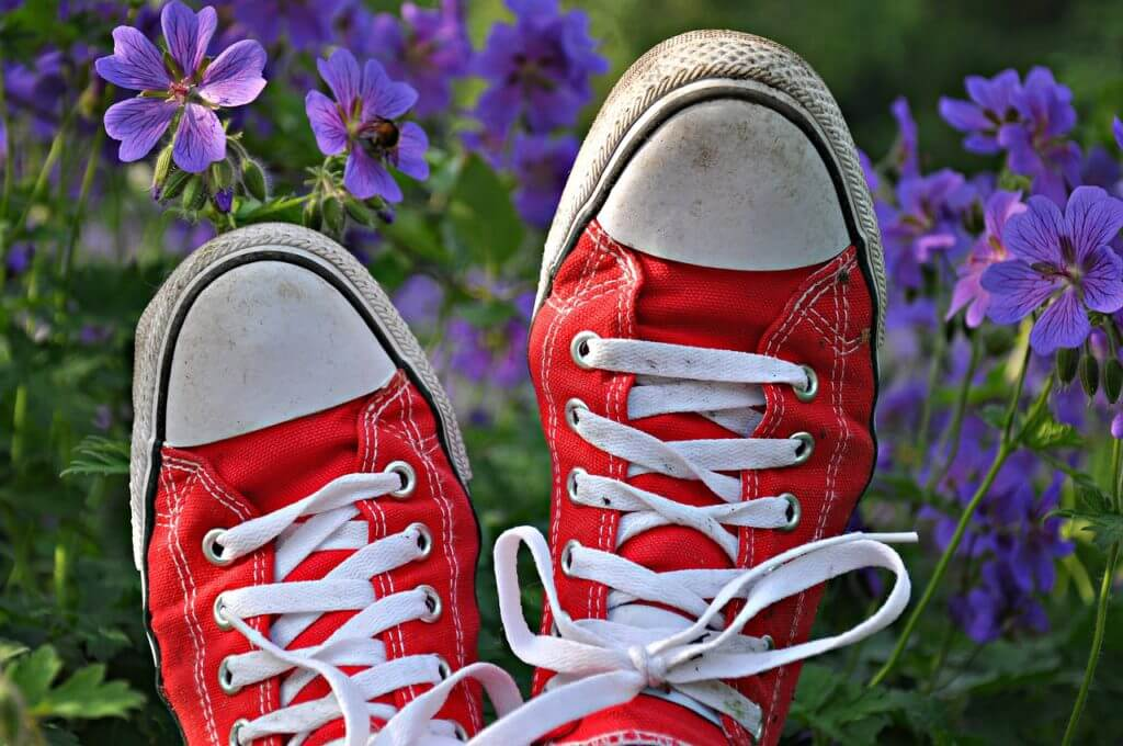rode gympen met zomerse bloemen op de achtergrond